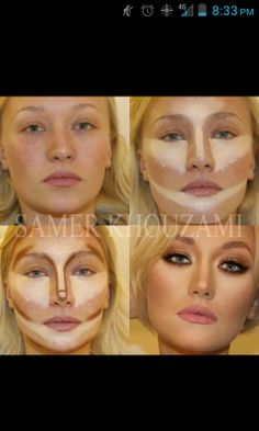 Contouring and highlighting makeup looks a bit cray but thats hows it done