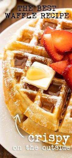 Breakfast Waffle Recipes, Breakfast Waffles, What's For Breakfast, Pancakes And Waffles, Breakfast Dishes, Breakfast Healthy, Fluffy Waffles, Healthy Waffles, Brunch Recipes