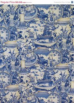 ON SALE Blue Willow Vase Print Pure Cotton by fabricsandtrimmings, $8.48