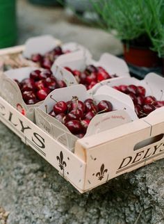 seasonal fruit favors - Traverse City Sweet cherries - they're kind of plum colored.