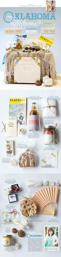 A warm Oklahoma welcome basket created by Emerson Events. Photos by Ely Fair Photography. #wedding #welcomebasket #editorial #oklahoma