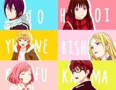 Yato, Hiyori, Yukine, Bishamon, Kofuku, and Kazuma, my phone is telling me these are not real names BUT THEY ARE YA FREAKIN PHONE