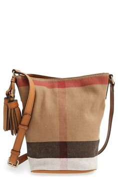 Burberry Brit 'Mini Ashby' Canvas Check Crossbody Bucket Bag available at #Nordstrom