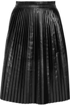 Maison Martin Margiela|Faux leather pleated skirt|NET-A-PORTER.COM - StyleSays