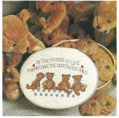 DIGITAL PATTERN  Embroidery Needlepoint Cross Stitch Chocolate Chip Bears Friends BFF
