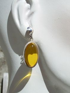 Genuine Amber Cab Sterling Silver Earrings Oval Dangles Pierced Vintage by Oldtreasuretrunk on Etsy
