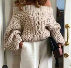 Amazing off the shoulder chunky knit sweater in beige Knitwear Fashion, Knit Fashion, Sweater Weather, Cozy Sweaters, Sweaters For Women, Knitting Sweaters, Cable Sweater, Mode Style, Sweater Outfits