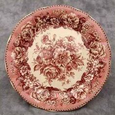 Red Cream Transferware Floral Country Toile Plate 10 for sale online Vintage Plates, Vintage Dishes, Antique China, Vintage China, Red And Pink, Red And White, China Plates, China Patterns, China Porcelain