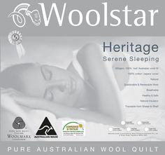 Heritage Wool WOOLSTAR Features: Australian wool fill cotton japara cover Shell quilt pattern enhancing loft and drape Five year guarantee Dry clean only -