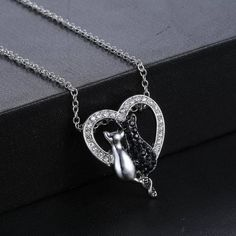 Are you cat lover? Get this Cat Heart Pendant Necklace on our website!