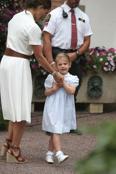 Princess Estelle of Sweden and Crown Princess Victoria of Sweden pose during the Birthday celebrations of Crown Princess Victoria of Sweden at...