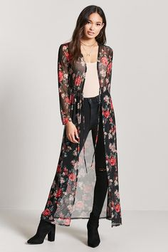 Forever 21 Floral Sheer Mesh Cardigan in 2019 Cardigan Fashion, Kimono Fashion, Hijab Fashion, Fashion Dresses, Look Fashion, Winter Fashion, Womens Fashion, Fashion Design, Fashion Beauty
