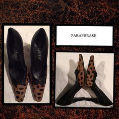 "Get PARAPHRASED! Made in Brazil quality heels Black leather with furry animal & bow designs. Size 9M Heel height 4"" Mint condition Sorry no PayPal holds or trades Save up to 50o/o off on bundles Bundle both of my Poshmark closets and save @demitria PARAPHRASE Shoes Heels"