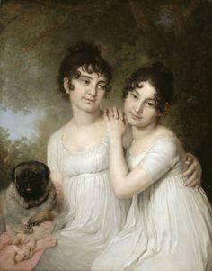 Elena and Aleksandra Alekseyevna Kurakina by Vladimir Loukitch, ca 1808-12 Russia, the Louvre