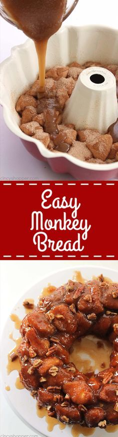 Easy Monkey Bread -Perfect for a quick breakfast or even dessert. You can feed a crowd with this deliciousness Easy Monkey Bread -Perfect for a quick breakfast or even dessert. You can feed a crowd with this deliciousness Potluck Desserts, Brownie Desserts, Brunch Recipes, Easy Desserts, Delicious Desserts, Breakfast Recipes, Dessert Recipes, Yummy Food, Breakfast Ideas