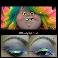 DreamWorks Trolls Lady Glitter Sparkles inspired makeup look.