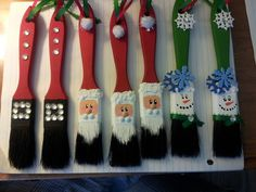 Christmas paint brush ornaments