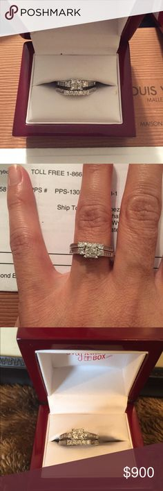 White Gold Diamond Ring Princess Cut Diamond Engagement Ring .     &Wedding Band set 1.0 Carat (ctw) in 10K white gold Jewelry Rings
