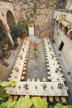 wedding in Italy - love the long tables