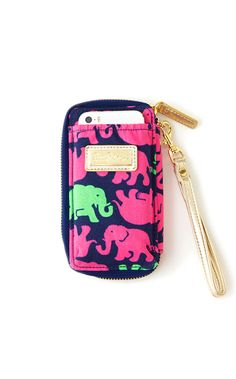 This cell phone wristlet meets card holder is a must-have necessity! Yes, it really is that simple--this all in one tech case wristlet can basically keep your life on track with plenty of space for your photo ID, credit cards, cash, iPhone 4/4S or iPhone 5/5S/5C--and it STILL has room for your favorite pink lip gloss.