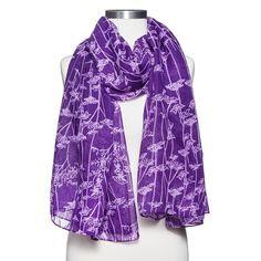 Women's Oversized Floral Print Scarf - Purple