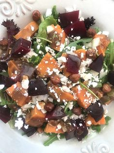 Beautiful & Healthy Inside & Out Salad #healthylunch #healthydinner #beetroot #hazelnuts #sweetpotato #glutenfree #salad #healtheebelly #healtheebellyrecipes Lunch Recipes, New Recipes, Vegan Recipes, Whole Roasted Cauliflower, Peanut Butter Smoothie, Healthy Lunches, Latest Recipe, Side Dishes Easy, Beetroot