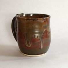 Ceramic Coffee Mug in Red with Gold by TulaneRoadPottery on Etsy, $15.00