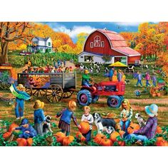 Autumn Festival is a 300 piece jigsaw puzzle designed by artist Mary Thompson. Kids are enjoying the fall festival at this country fair. Classic Paintings, Fall Pictures, Autumn Art, Various Artists, Illustrations, 1000 Piece Jigsaw Puzzles, Folk Art, Colored Leaves, Pumpkin Pies