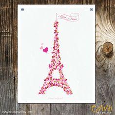 Paris Je t'aime  Paris France Art Print  Tour Eiffel  by evivart, $20.00
