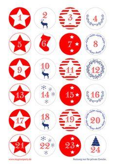 Freebie: Adventskalender Zahlen zum Selbstausdrucken kostenlos - Rot