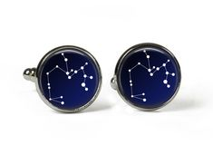 SAGITTARIUS Constellation Sky Stars Zodiac - Glass Picture Cufflinks - Silver Plated (Art Print Photo) by RosettaLondon on Etsy