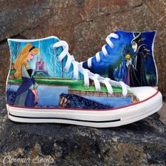 It's time to get comfy in high Disney style. The Etsy store ChromaSouls has some unbelievable custom designs painted over some of the most popular sneakers in the land. Disney Converse, Disney Shoes, Disney Outfits, Custom Vans Shoes, Custom Painted Shoes, Hand Painted Shoes, Popular Sneakers, Disney Sleeping Beauty, Shoe Art