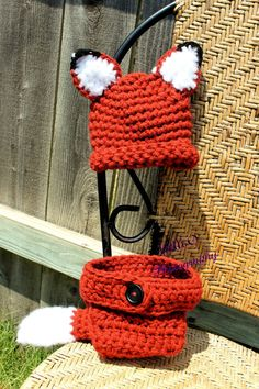 Newborn Sly Little Fox Hat and Diaper cover set by FromHandToHeart