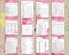 Baby Shower Games Package 12 Printable Games Pink Watercolor