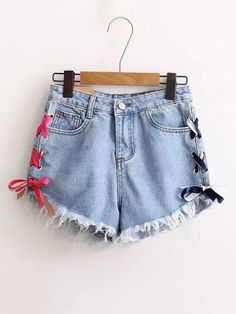 Shop Raw Hem Lace Up Grommet Denim Shorts online. SheIn offers Raw Hem Lace Up Grommet Denim Shorts & more to fit your fashionable needs. Cool Outfits, Summer Outfits, Casual Outfits, Tween Fashion, Fashion Outfits, Fashion Weeks, Paris Fashion, Thighs Women, Diy Clothes Refashion