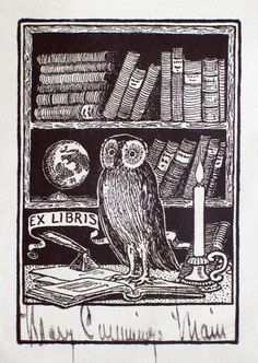 bookplate for Mary C------ Maui  depicts owl in front of a crowded bookshelf
