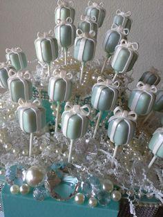Tiffany Box - Tiffany Inspired Cake Pops - Breakfast at Tiffany's - Bridal Shower - Wedding - Birthday - Tiffany Blue Cake Pops on Etsy, $36.00