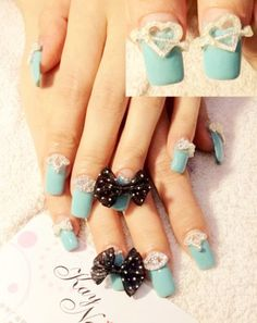 Tiffany blue French nails with diamond paste