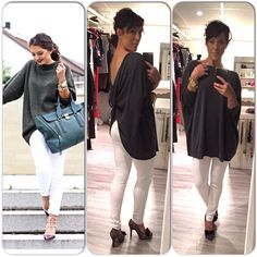Ootd, outfit, withe jeans, grey top www.mbstyliste.ca Facebook