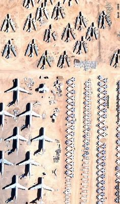 Just a fraction of the aircrafts stored in the Boneyard at Davis Monthan Air Force Base in Tuscon, Arizona. Image from Google Earth.