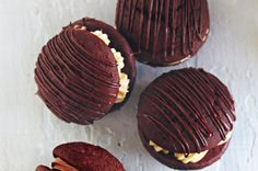 Chocolate & peanut butter whoopies http://www.taste.com.au/recipes/28514/chocolate+peanut+butter+whoopies