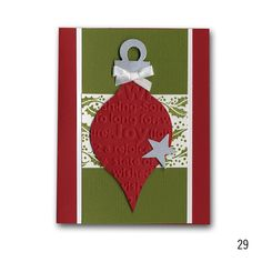 2012 Holiday 29 Embossed Diecut Ornament Card