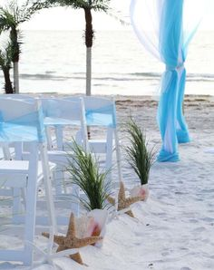 Grasses, starfish and conch shells line the aisle
