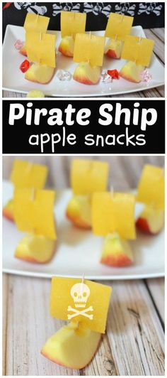 """""""Sliver-Me-Timbers"""" = Pirate Ship Apple Snacks Pirate Food, Pirate Day, Pirate Birthday, Pirate Themed Food, Apfel Snacks, School Snacks, Camp Snacks, Kids Meals, Birthday Parties"""