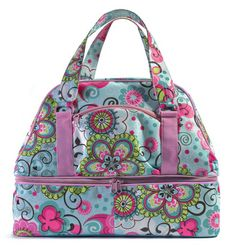 Durable Finally Friday Weekender Canvas Bag - Pollywally Doodle - blue flower