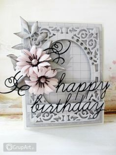 Gallery of handicrafts: happy birthday Hand Made Greeting Cards, Making Greeting Cards, Heartfelt Creations Cards, Happy Birthday, Spellbinders Cards, Beautiful Handmade Cards, Cards For Friends, Winter Cards, Handmade Birthday Cards