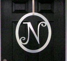 Metal monogram Door Hanger 22 Curlz Font   Over by housesensations