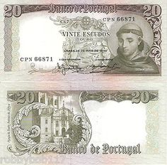 portugal currency   Portugal 20 Escudos Banknote World Money Currency Europe Bill P167B ...