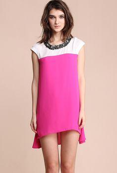#SheInside  White and Rose Red Beading Neckline Dipped Hem Mini Dress - Sheinside.com