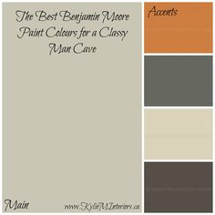 The Best Benjamin Moore Paint Colours for a Man Cave will turn any room in your home into a man cave with paint palettes suited to men and women